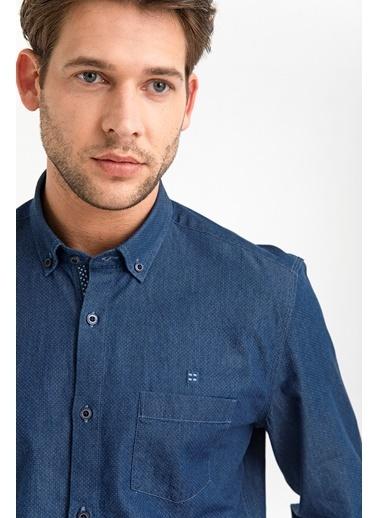 Avva Erkek  Düğmeli Yaka Slim Fit Gömlek A01Y2147 Mavi